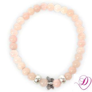 Jade armband Butterfly Light Pink zilver