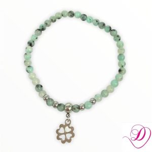 Jade armband Clover light green