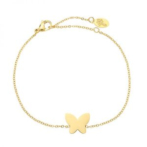 Stainless steel armband Butterfly goud
