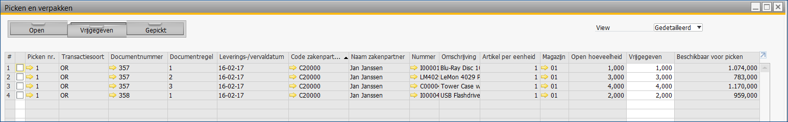Pick and Packmanager lade Vrijggeven